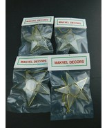 "Lot Of 4 Vintage Makvel Decors Star Christmas Ornament 3-1/2"" NOS - $15.83"