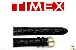 Timex Q7B855 Originale 18mm Nero Coccodrillo pelle Pieno Fiore Cinturino - $15.79