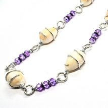 Necklace the Aluminium Long 48 Inch with Shell Hematite and Crystals Strass image 4
