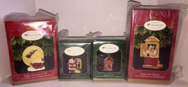 Primary image for 1997 HALLMARK COLLECTOR'S CLUB MEMBERSHIP KIT SET OF 4 ORNAMENTS! NEW IN BOXES