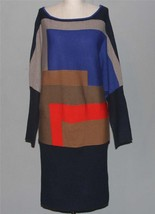 VINCE CAMUTO Colorblock Batwing L/S No-Collar Sweater Dress Wms M NWT $1... - $54.99
