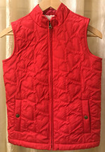 Girls Gap Kids XL 12/14 Quilted Fleece Lined Pink Vest Hearts - $16.17