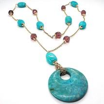 925 Silber Halskette Pink, Achat Blau Oval, Medaillon, Länge 75 CM - $186.85