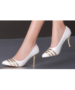 89h178 extra size delicated pointy pump in spell color, Size 3-11, white - $48.80