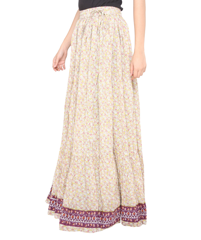Pink flower jaipuri skirt  b