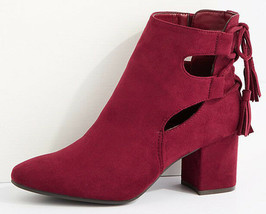 Brand New Women's Hot Kiss Nelly Back Lace Up w Tassels Burgundy Ankle Boots 6US image 2