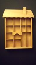 Light Wood Wall Hanging House Shape Box w/ Trin... - $35.00