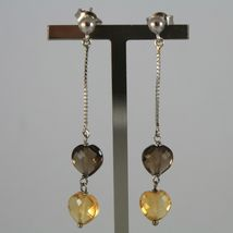 White Gold Earrings 750 18K Charm Pendants with Hearts of Quartz Brown & Citrine image 3