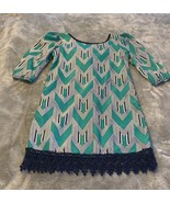 Size 8 Sequin Hearts Girls Green Navy White Chevron Shift Dress 3/4 Slee... - $22.00