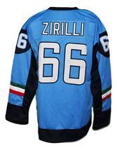 Custom Name # Team Italy Hockey Jersey New Sewn Blue Zirilli #66 Any Size image 2