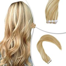 Hetto Double Sided Human Hair Extensions #14 Dark Blonde and #613 Blonde Human H image 1