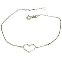Bracelet or Blanc 18k 750, Cœur Central Perforé, Longueur 16-18 Cm - $141.67