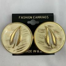 Big Enamel Feather Leaf Pierced Earrings Round Large NOS Cream Gold Tone... - $12.81