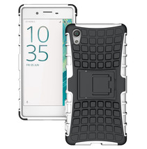 Rugged Dual Layer Protective Case with Kickstand For Sony Xperia XA - White  - $4.99