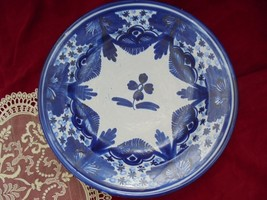 VINTAGE BLUE WHITE, Dish Bowl, Wall Hanging, Hand painted Ceramic,Blue W... - $32.33