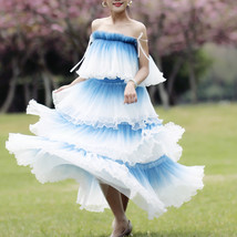 Blue Tiered Tulle Skirt Outfit High Waisted Long Tulle Skirt Holiday Tulle Skirt image 8