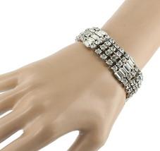 """Vintage Stunning Wiesner Wide Rhinestone Bling Bracelet Best Quality 4 Rows 7"""" image 2"""