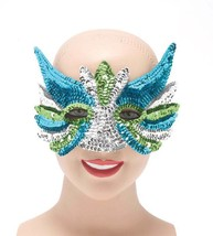 SEQUIN EYE MASK, MASQUERADE EYE MASK, SILVER, BLUE AND GREEN #US - ₹169.85 INR