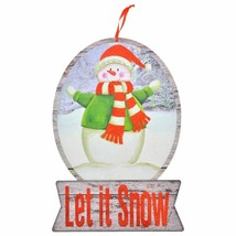 """Christmas Holiday Snow Globe Sign Snowman Let it Snow 9""""X16.5"""" w - $6.99"""