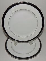 2 Nikko Fine China Black Tie Patra Bread Plates Silver Trim Thailand 212... - $26.72