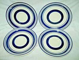 """Set of 6 Royal Norfolk 10.5"""" Blue Striped Banded Dinner Plates Greenbrier New - $24.74"""