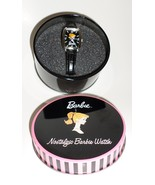 Nostalgic Barbie Wrist Watch 2002 black band Avon retro hat box H8 - $37.77