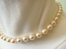 Strand Creamy White Faux PEARLS CHOKER Necklace Hand Knotted Vintage Career - $14.84