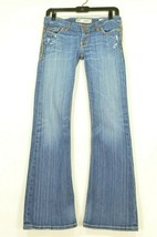 BKE jeans 27R x 313 Starlite flare embroidery back pockets distressing d... - $19.79