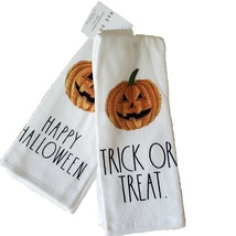 Rae Dunn Kitchen Towels, set of 2, Happy Halloween Trick or Treat