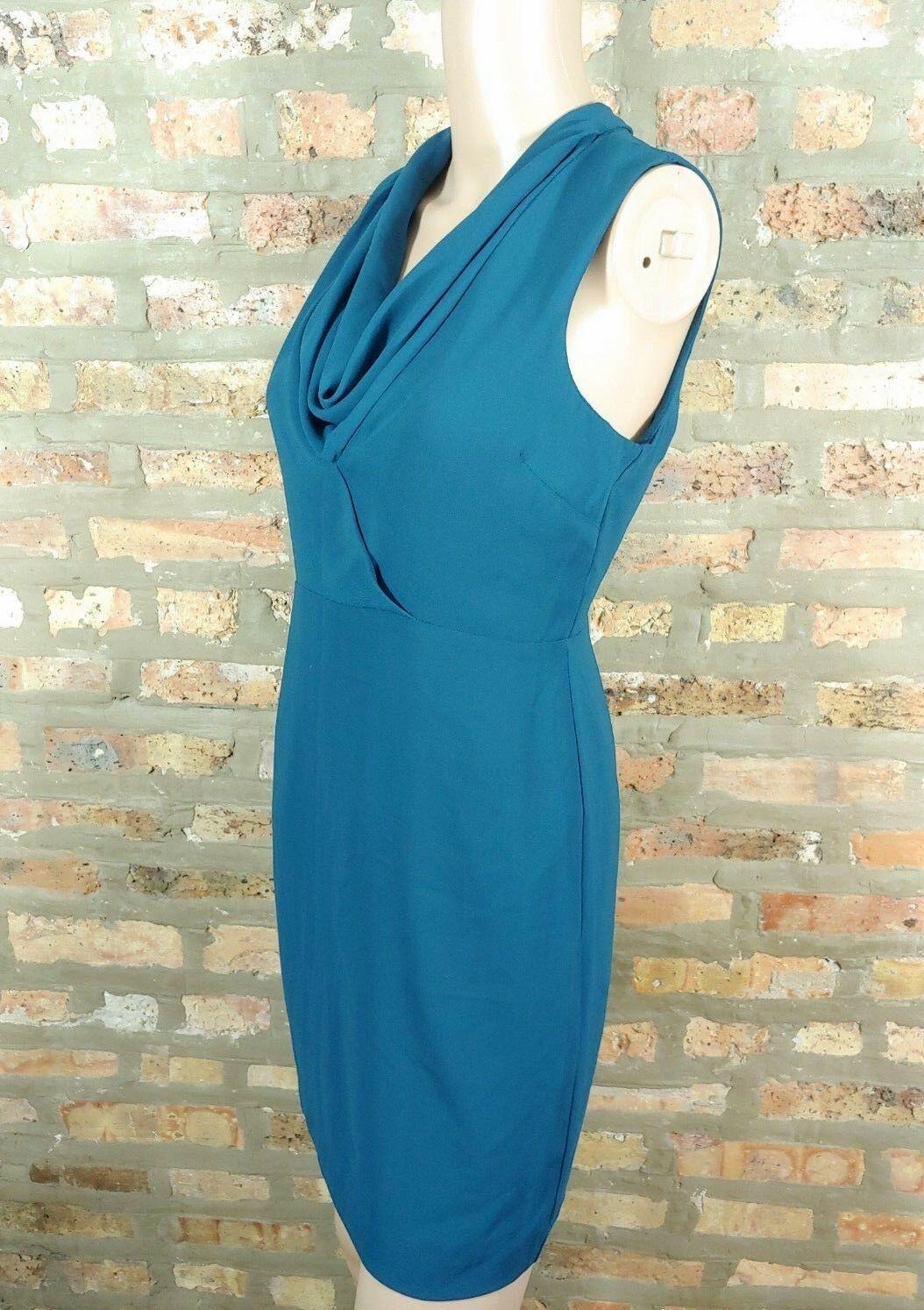 Forever 21 Dark Teal Blue Draped Cowl Scoop Neck Sheath Career Mini Dress S