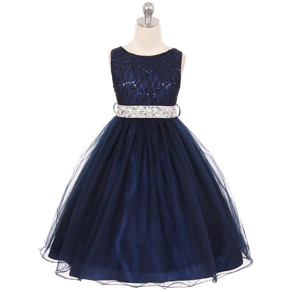 Navy Blue with Silver Belt Sequin Bodice Double Layers Tulle Flower Girl Dress - $37.00 - $55.00