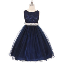 Navy Blue with Silver Belt Sequin Bodice Double Layers Tulle Flower Girl... - $37.95+