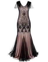 Kayamiya Women 1920s Long Prom Gown Beaded Sequin Art Deco Formal Evening Dress - $50.93+