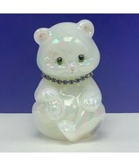 Fenton glass teddy bear figurine birthday sculpture milk necklace signed... - $82.08