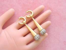 RETRO 2+ctw DIAMOND BALL DROPS LONG STATEMENT COCKTAIL HOOP EARRINGS 194... - $4,058.01