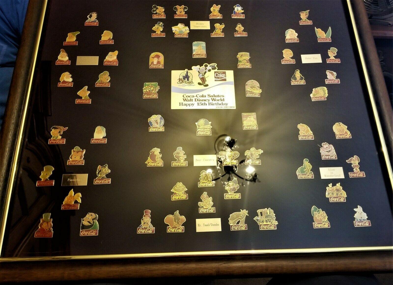Original RARE NUMBERED Coca Cola WALT DISNEY WORLD 15th Birthday Framed Pin Set image 8