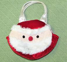 "8"" Aurora Santa Purse Red White Silver Christmas Plush Small Tote Stuffed Toy - $14.85"