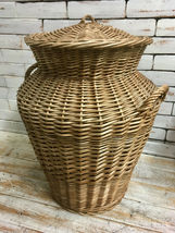 Large Vintage Willow Wicker Storage Basket Unusual Shape with Lid  - $48.90