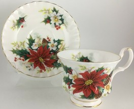 Royal Albert Poinsettia Cup & saucer Factory 2nd quality - $11.00