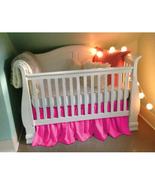 Hot Pink Cotton Ruffled Crib Skirt / Mini Crib Skirt - $25.99+