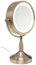 "Jerdon LT856N 8"" Brushed Nickel Lighted Pedestal Makeup Mirror - $69.50"