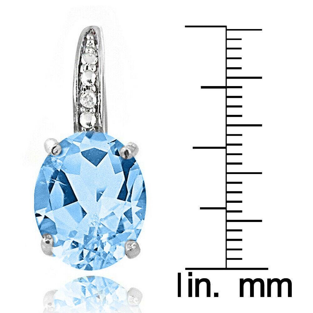 "London Blue Topaz  Silver Dangle Earrings Gemstone with Swarovski Crystal 1.1"""