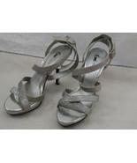Fioni Night Glittery Silver High Heel Shoes Size 7 1/2W - $2.96