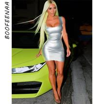 BOOFEENAA Sexy Silver Bodycon Bandage Dress Fitted Backless Mini Dresses... - $23.60