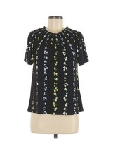 Ann Taylor Womens Black Floral Print Short Sleeve Ruched Blouse Size Small - $16.82