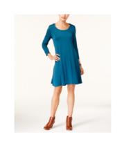 Style & Co Womens Rich Teal 3/4-Sleeve Scoop-Neck Swing Dress Petite Siz... - $29.69