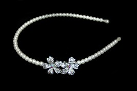 Wedding Hair Accessories, Pearls and Rhinestone One Side Headband, One Size - $12.99