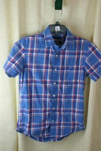 American Eagle Boys Vintage Fit Short Sleeve Plaids Button Down Sz XS - $6.97