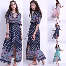 FLORHO Brand Women Summer Boho Long Maxi Party Beach Dress Evening Cockt... - $34.68