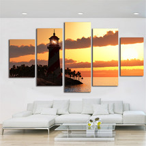 Lighthouse on Sunset Framed  5 Piece Canvas HD Wall Art Poster Print Hom... - $29.00+